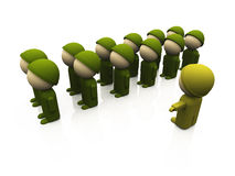 Oliv soldiers in a row 01. 3d soldiers on white background vector illustration