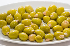Oliv som är välfyllda vid mandeln Royaltyfria Foton