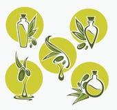 Oliva verde, foglie, bottiglie ed olio Fotografie Stock Libere da Diritti
