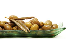 Olive. A plate of olives on white background Royalty Free Stock Photos