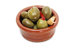 Olive. A plate of olives on white background Royalty Free Stock Photo