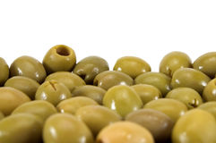 Olive. Green olive on white background stock photos