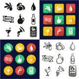 Olive All dans les icônes une noires et la conception plate de couleur blanche à main levée réglée Image stock