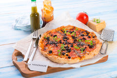 Olive anchovy pizza Royalty Free Stock Image