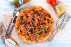 Olive anchovy pizza Royalty Free Stock Photography