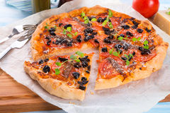 Olive anchovy pizza Stock Photography