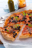 Olive anchovy pizza Royalty Free Stock Photos
