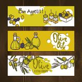 Olive Banners Set Photos stock