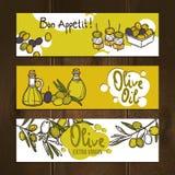 Olive Banners Set Arkivfoton