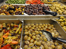 Olive Bar featuring lots of choices Stock Photo