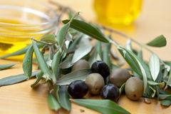 Olive bath items isolated on the white. wellness p Stock Photography