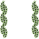 Olive border and branch hand drawn sketch illustration. Royalty Free Stock Photo