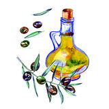 Olive bottle illustration. Hand drawn watercolor painting Royalty Free Stock Photo