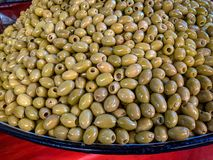 Green olives for sale royalty free stock photography