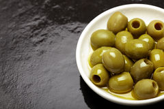 Olive bowl top shot Royalty Free Stock Images