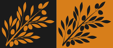 Olive branch. Branch of olive, stylized to antic black- and red-figure pottery Stock Images