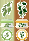Olive Branch Label_eps. Illustration of olive branch and label with stripe background. --- This .eps file info Document: A4 Paper Size Document Color Mode: CMYK vector illustration