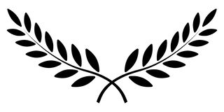 Olive branch, Laurel wreath, vector winner award symbol, sign victory and wealth in the Roman Empire. Olive branch, Laurel wreath, vector winner award symbol stock illustration