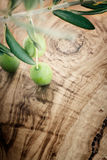 Olive branch on olive wood background Royalty Free Stock Image