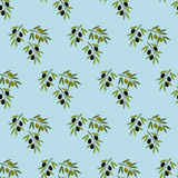 Olive branch seamless pattern. On the blue background. Vector illustration Stock Photography
