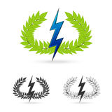 Olive branch with thunder symbol of greek god zeus Royalty Free Stock Images