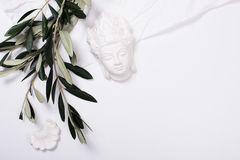 Olive branches and ceramic decor Royalty Free Stock Photos
