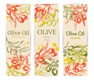Olive branches, hand drawn retro style vector illustrations. Royalty Free Stock Photo