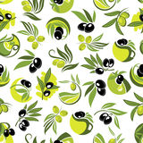 Olive branches and jugs of oil seamless pattern Stock Photography