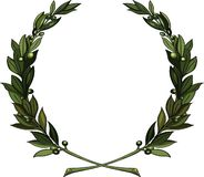 Olive branches wreath. Olive wreath - symbol of victory and achievement. Design element for construction of medals, awards, coat of arms or anniversary logo stock illustration
