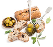 Olive bread fruits and oil Royalty Free Stock Photo