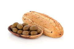 Olive Bread and Green Olives Royalty Free Stock Image
