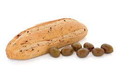 Olive Bread and Green Olives Royalty Free Stock Photo