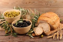 Olive and bread stock photography