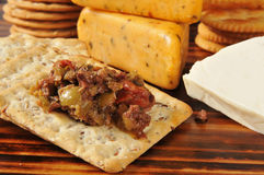 Olive brushchetta with crackers Stock Images