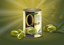 Olive can, realistic metal container with delicacy. Realistic can or metal bottle with olives at bottom. Container with healthy food for sticker or label Stock Photo