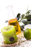 Olive and candles. Olive and green candles, lemon on white background Royalty Free Stock Images