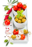 Olive with cheese and tomatoes Royalty Free Stock Images