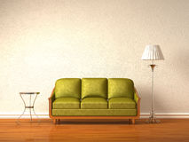 Olive coach with table and stand lamp Stock Photography