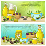 Olive Colored Banner Set Stock Photo