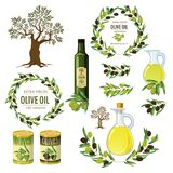 Olive colored isolated icon set with products and decorations from olives olive branch par example vector illustration. Olive colored isolated icon set with vector illustration