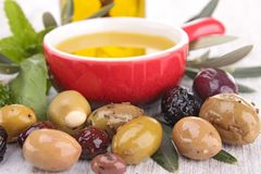 Olive and cooking oil Stock Images