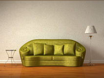 Olive Couch With Table And Standard Lamp Stock Photo