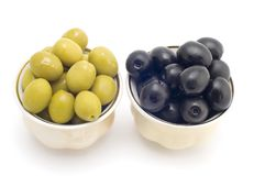 Olive in cup. Series object on white - food - olive in cup Stock Photos