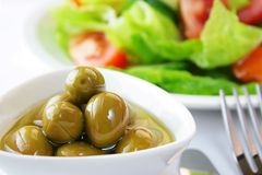 Olive dish. On the food and dinner table Royalty Free Stock Photo
