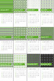 Olive drab and bastille colored geometric patterns calendar 2016 Stock Image
