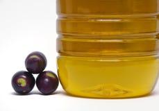 Olive e bottiglia Immagini Stock Libere da Diritti