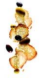 Olive e comporre del pane Fotografia Stock