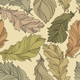 Olive feathers seamless pattern stock photo