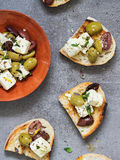 Olive Feta Bruschetta. Bread with Feta and Olives. Selective Focus Royalty Free Stock Photos