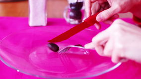 Olive, Fork, Knife And Plate. Concept Of Anorexia stock video footage